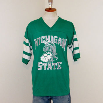Vintage 80s MICHIGAN State SPARTANS University College Football Men Medium Large Green JERSEY Style Athletic T-Shirt