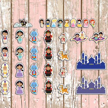 Aladdin Themed Planner Stickers | Erin Condren | Inkwell | Kikki K | Aladdin | Movie | Disney | Genie | Custom | Cute | Jasmin | Princess