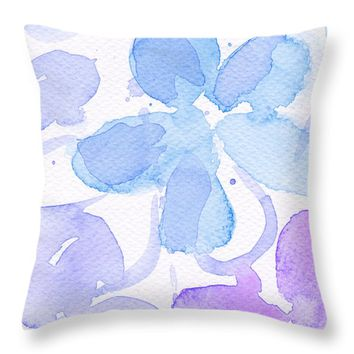 "Blue and purple flowers Throw Pillow 16"" x 16"""