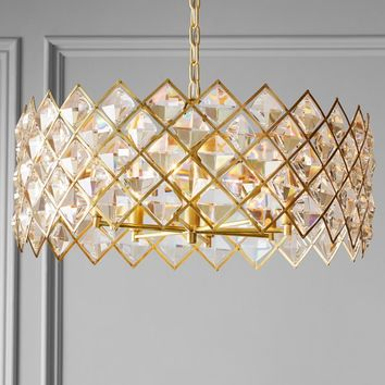 AERIN Diamond Crystal Chandelier, Brass