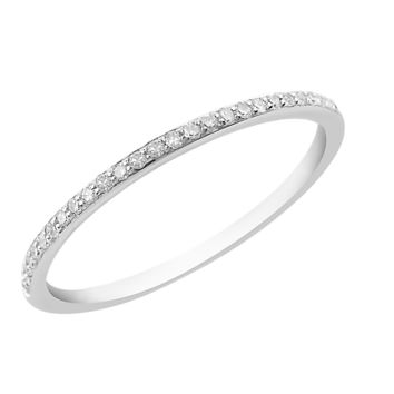 White Diamond Band Ring - Sterling Silver