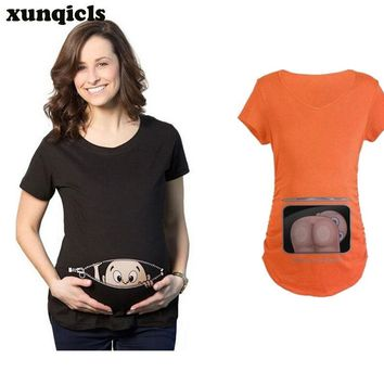 xunqiclsFunny Maternity Tee Pregnant Pattern Printed T-shirt Summer Short Sleeve Pregnancy Clothes