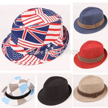 Hot Sale Fashion Baby Kids Hat Jazz Hat Toddler Boy Girl Cap Photography Top Cotton Trilby