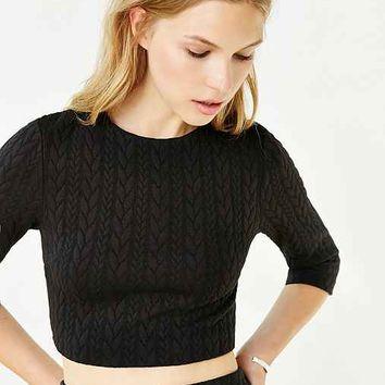 Silence + Noise Cable-Knit Ponte Cropped Top