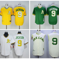 Best Quality 9 Reggie Jackson Jersey Cooperstown 1968 Retro Oakland Athletics Reggie Jackson Baseball Jerseys Throwback Yellow Green Cream