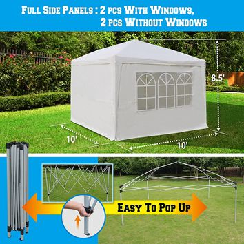 EZ POP UP Wedding Party Tent 10?x10? Folding Gazebo Beach Canopy W/Carry Bag & 4 Sidewalls & Side Panel