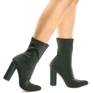 #Elssa1 Khaki by X2B, Khaki Pointed Toe Ankle booties W Stretchy Upper & Rounded Cylinder Block Heel