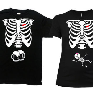 Matching Halloween Costumes Couples Shirt Birth Announcement T Shirt Maternity Clothes Pregnancy Clothing Expecting Mom Dad To Be -SA339-379