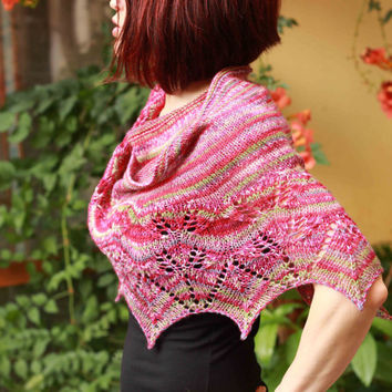 Wool shawl, lace shoulder cover, striped shawlette, knitting shawl
