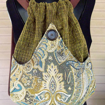 Green Backpack  Tapestry Boho Backpacks tapestry sling bag  cinch bag tapestry book bag Piperscrossing