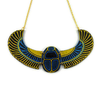 Egyptian winged scarab plastron necklace, gold metallic blue and black Khepri necklace made with painted plastic (recycled CD)