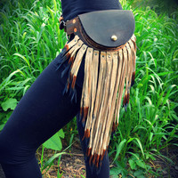 Small pouch belt with leather fringe fanny pack