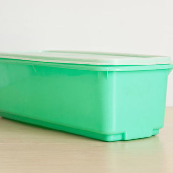 Vintage Jade Green Tupperware Celery Keeper, Jadite Color Fruit and Vegetable or Bread Storage Box with Rack