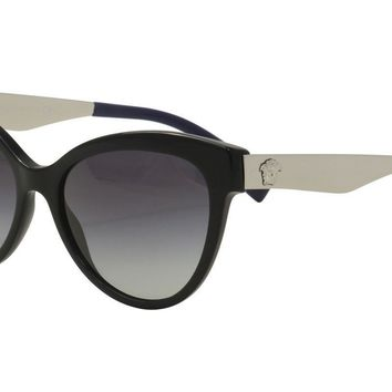 Versace Women's VE4338 VE/4338 5247/8G Black/Silver Cat Eye Sunglasses 57mm