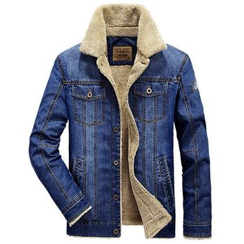 Casual Fashion  Cotton Turn Down Collar Solid Think Denim Jackets for Men