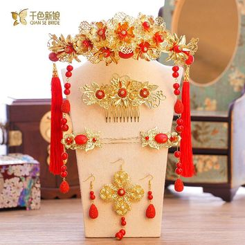 Chinese bride headdress costume Chinese knot hairpin wedding  hairwear and earrings photography accessories xinhan