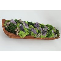 Organic Moss and Amethyst Geodes Floral Arrangements in Planter
