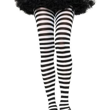 Nylon Striped Tights (One Size,Black/Pink)