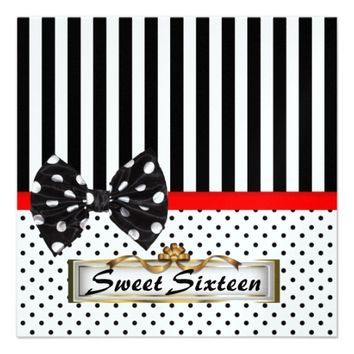 Sweet Sixteen 16 Party Black and White Invitation