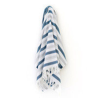 Turkish-T - Summer Stripe Beach Towel | Navy/Gray