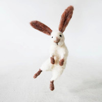 Snow white jumping bunny Sir Hopsalot, whimsical art doll Christmas gift idea for the loved one