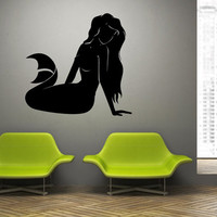 Wall Decal Vinyl Sticker Decals Art Decor Design Mermade Nixie Water nymph Ariel Fish Woman Water Bath Bedroom Style (r95)