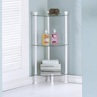 "White Metal 33""H Corner Etagere With Tempered Glass"
