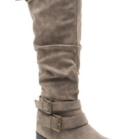 Taupe Isla Buckle Flat Riding Boots