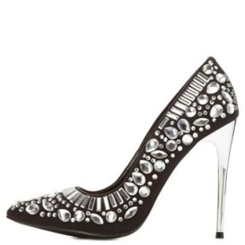 Black Rhinestone Embellished Pumps by Charlotte Russe
