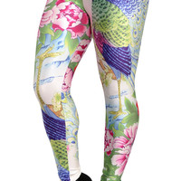Colorful Peacock and Flowers Leggings Design 305