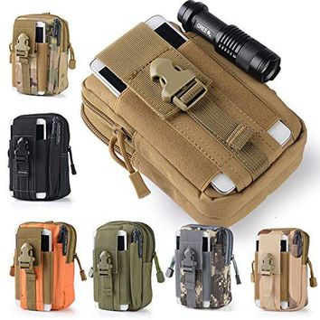Efanr Universal Outdoor Tactical Holster Military Molle Hip Waist Belt Bag Wallet Pouch Purse Phone Case with Zipper for iPhone 7 6s Plus 5S Samsung Galaxy S7 S6 LG HTC and More (Khaki)