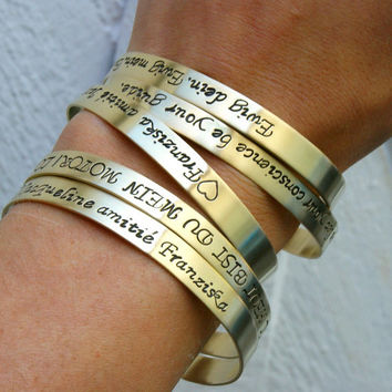 personalized bangle bracelet , brass bracelet, friendship brass bracelet, your dedication