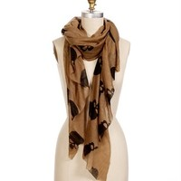 Taupe Skull Print Asymmetrical Scarf