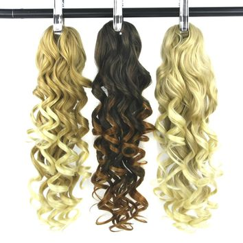 Soowee 24inch Curly Blonde Ombre Hair Extensions My Little Pony Tail Claw Ponytail Hair on Clips Hairpins Fairy Tail for Women