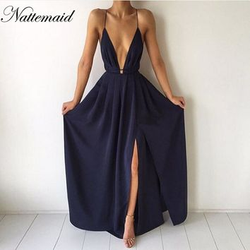 NATTEMAID Bandage Dresses 2017 Women Chiffon Maxi Dress Sexy Strap Backless V-Neck Crisscross Pleated Vestido de festa New whole