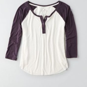 AEO Soft & Sexy Baseball Henley, Urban Black | American Eagle Outfitters