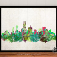 Dallas Skyline Watercolor Poster, Texas Print, Cityscape, City Painting, State, Illustration Art Paint, Giclee Wall, Home Decor