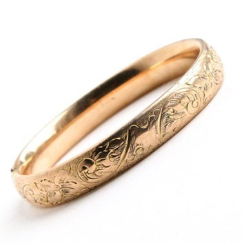 Antique Gold Filled Hinged Bracelet - Edwardian Art Nouveau Flower Signed F.M. CO Finberg Manufacturing Co Jewelry / Floral Vines & Initals