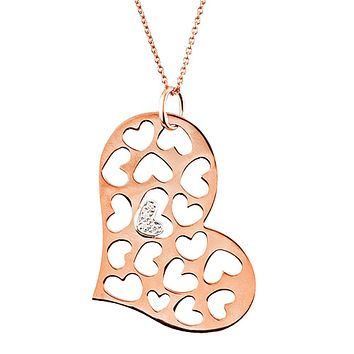 Diamond Heart Necklace in 14k Rose Gold