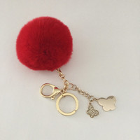 "Limited Edition keychain ""Be my butterfly"" genuine Rex Rabbit fur pom pom keychain or bag pendant in Red"