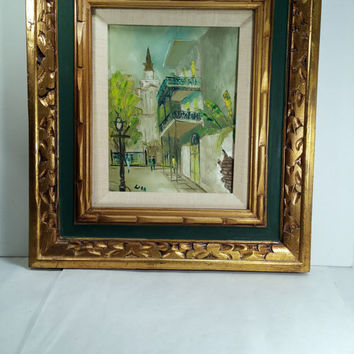 "Framed Oil Painting in Ornate Carved Frame City Scene Mid Century Oil Painting Mexico Tropical Greens 18"" x 16"""