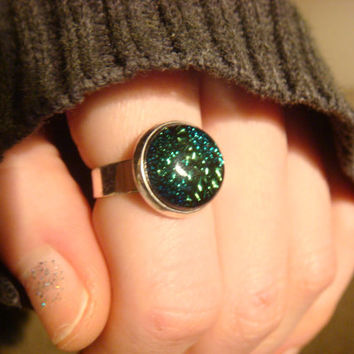 Silver Dichroic Glass Ring  - Adjustable (1022)