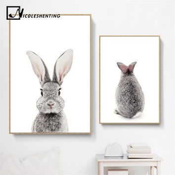 Baby Woodland Animal Rabbit Tail Canvas Funny Poster Wall Art Nursery Print Painting Nordic Kids Decoration Pictures Room Decor