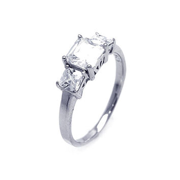 925 Sterling Silver Ladies Jewelry Past Present Future Square Cubic Zirconia Ring: Size: 5