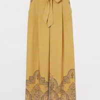 Wide-leg Patterned Pants - Dark yellow/paisley-patterned - | H&M US