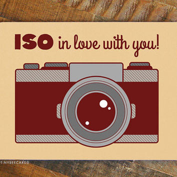 "Funny Valentines Day Card ""Iso in Love With You!"" - Photographer card, boyfriend girlfriend card, for photographers, retro camera card"