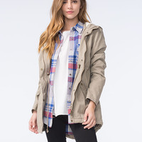 Ashley Premium Womens Twill Anorak Khaki  In Sizes
