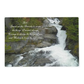 Serenity Prayer Forest Waterfall Laminated Placemat