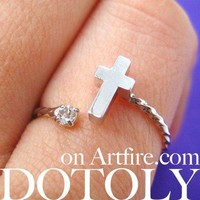 Adjustable Cross Shaped Wrap Around Ring in Silver with Rhinestones