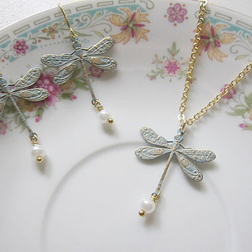 Blue Dragonfly Pearl Earring Necklace Set Bridesmaid Jewelry Gift for Her
